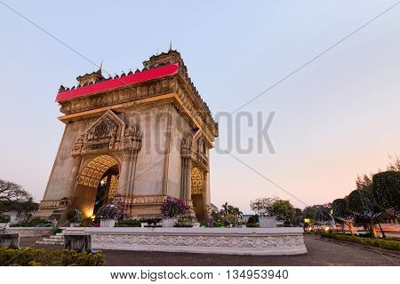 Patuxay monument in Vientiane at twilight Laos.