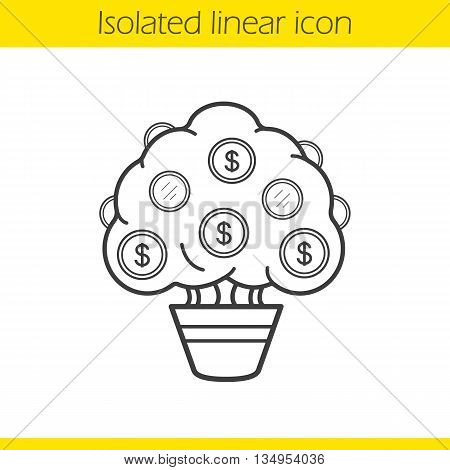 Money tree linear icon. Finance and investment thin line illustration. Economics contour symbol. Vector isolated outline drawing