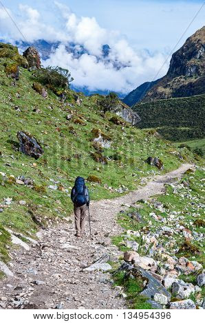 trekking in mountains Salkantay Trekking Peru South America