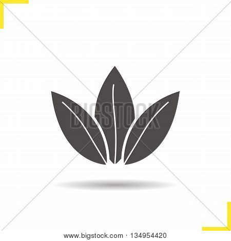 Loose tea leaves icon. Drop shadow silhouette symbol. Vector isolated illustration