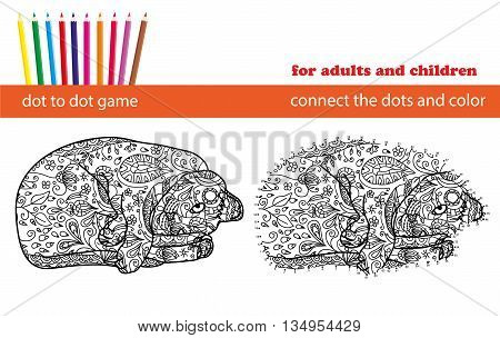 Dot to dot game. Coloring and dot to dot educational game for adults and kids. Cartoon character. Funny cat. Connect the dots and colour the picture. Coloring page