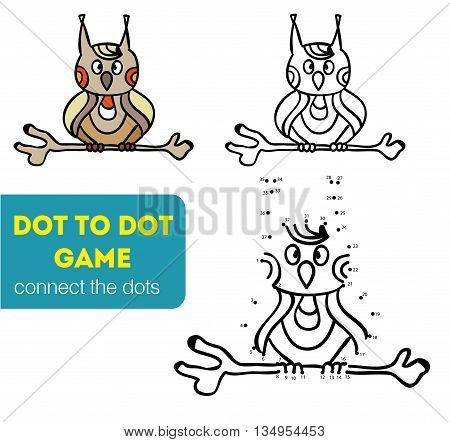 Dot to dot children game. Coloring and dot to dot educational game for kids. Cartoon character. Funny owl