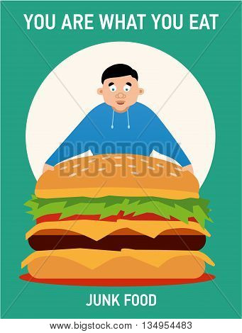 You are what you eat illustration young fat guy ate too much burgers and lost health junk food