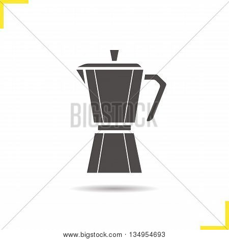 Moka pot icon. Drop shadow classic coffee maker silhouette symbol. Mocha pot. Vector isolated illustration