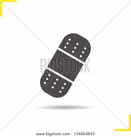 Bandaid icon. Drop shadow adhesive bandage silhouette symbol. Plaster vector isolated illustration