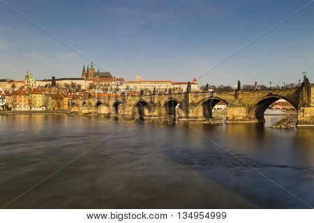 Prague Castle And Charles Bridge With Vltava River, Prague, Czech Republic