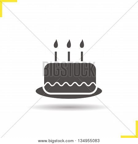 Birthday cake icon. Drop shadow cake with candles silhouette symbol. Holiday cake. Vector isolated illustration