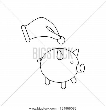 Hand putting a coin into piggy bank icon in outline style on a white background