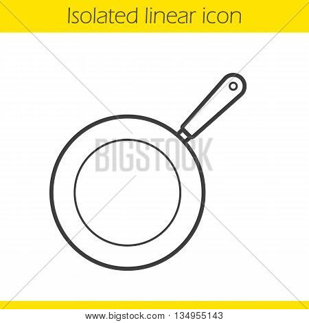 Frying pan linear icon. Kitchen utensil. Restaurant cooking equipment thin line illustration. Pan contour symbol. Vector isolated outline drawing