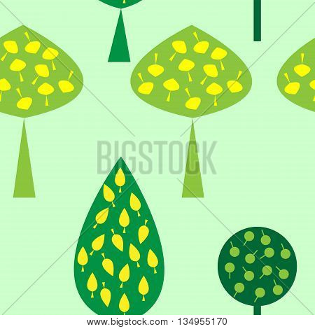 The seamless pattern trees on green background