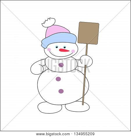 Cheerful Snowman With  Shovel In  Hat
