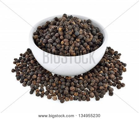peppercorn in white bowl isolated on a white background