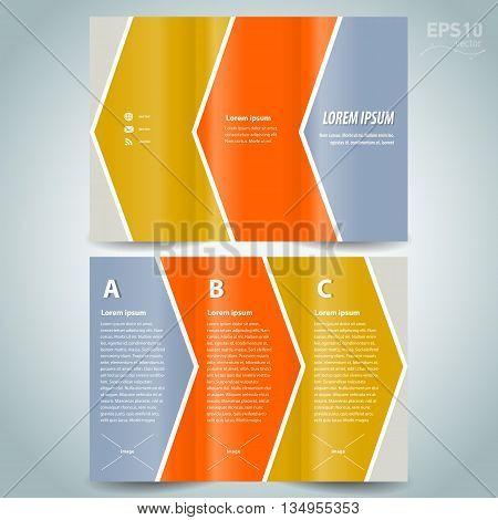 brochure design template line stripes arrow colored