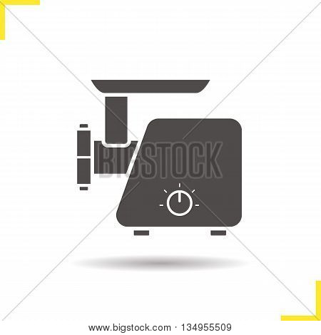 Electric mincer icon. Drop shadow silhouette symbol. Meat grinder. Vector isolated illustration