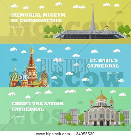 Moscow tourist landmark banners. Vector illustration with Russian famous buildings. St. Basil, Kremlin, Church, museum. Travel to Russia concept.