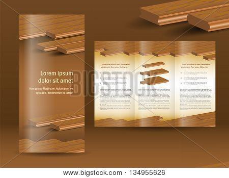flooring plank brochure design template folder leaflet element timber parquet color brown