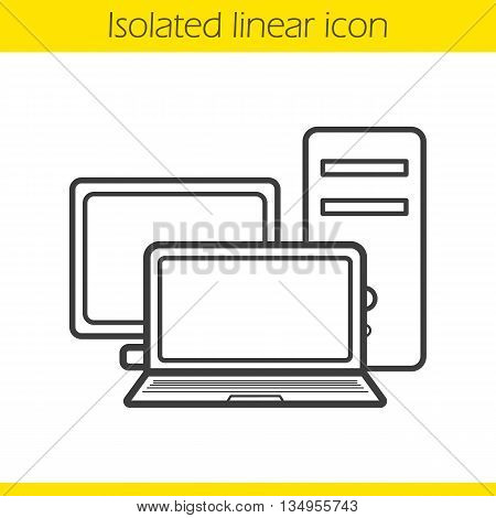 Computers linear icon. PC screen, system unit and laptop. Modern digital electronics thin line illustration. Computers contour symbol. Vector isolated outline drawing