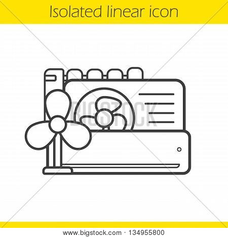 Conditioners linear icon. Air conditioning household equipment thin line illustration. Ventilators contour symbol. Vector isolated outline drawing