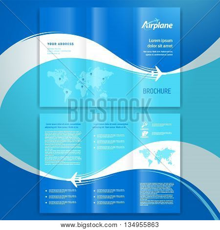Transportation brochure design template leaflet airplane way
