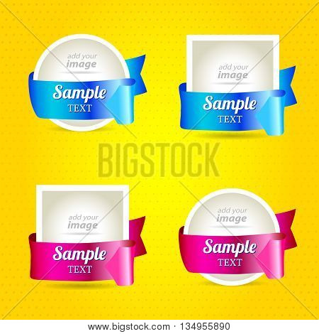 ribbon arrow sticker label set ribbon color rounds and squares