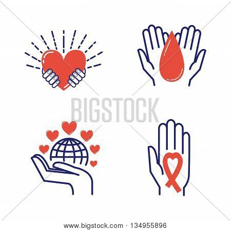 Volunteer icons donate charity donation vector set. Humanitarian volunteer icons awareness hand hope aid support and assistance care service human volunteer symbols. Collection shape donate concepts