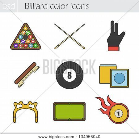 Billiard color icons set. Ball rack, cues, glove, brush, eight ball, chalk, rest head, table and burning ball. Vector isolated illustrations