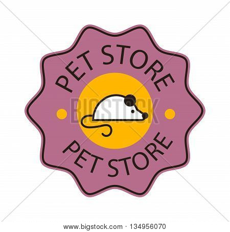 Logo for pet shop or animal clinic pet shop logo. Mouse shop logo design veterinary, cat symbol isolated silhouette care mouse label. Pet shop logo creative animal company emblem set.