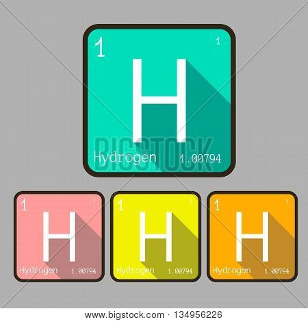 hydrogen chemical element flat style vector icon