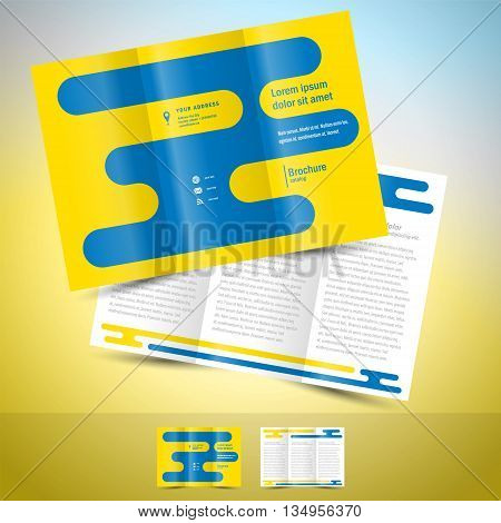 brochure design template leaflet abstract geometric blue line yellow background