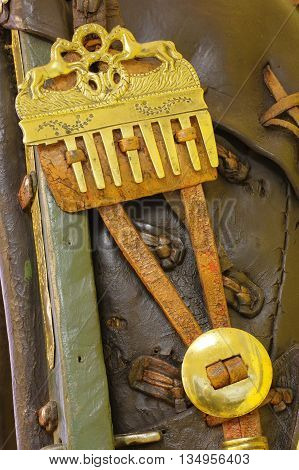 Old horse collar detail vintage objects animals domestic theme.