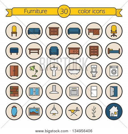 House furniture color icons set. Bedroom, living room, bathroom and kitchen furniture. Vector isolated illustrations