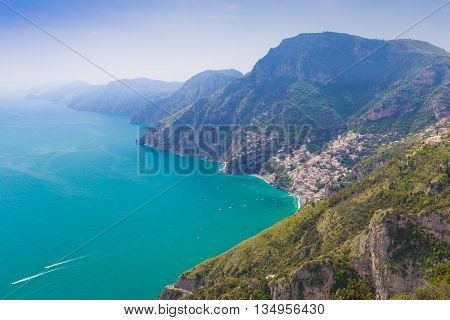 Beautiful Views On Positano Town From Path Of The Gods, Amalfi Coast, Campagnia Region, Italy