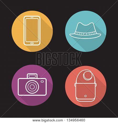 Men's accessories flat linear long shadow icons set. Homburg hat, handbag, smartphone and vintage photo camera. Vector line symbols