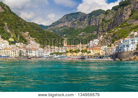 Front View On Town Of Amalfi, Amalfi Coast, Campania, Italy