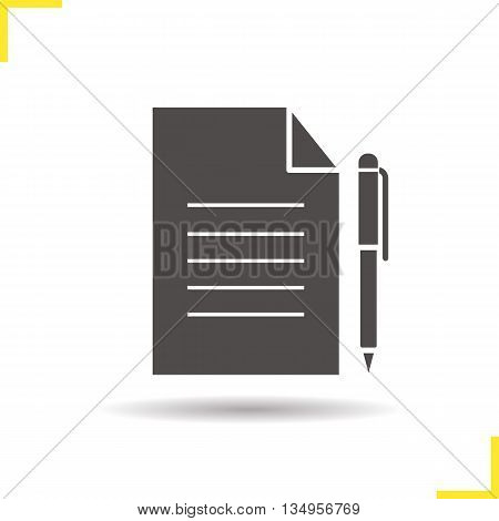 Contract icon. Drop shadow agreement silhouette symbol. Business paper with pen. Official document vector isolated illustration