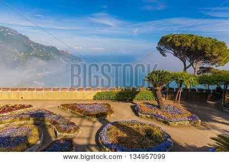 Amazing View From Villa Rufolo, Ravello Town, Amalfi Coast, Campania, South Of Italy