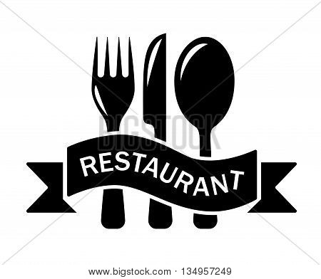 isolated restaurant black symbol with tape and kitchen utensil