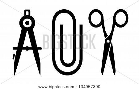 tree isolated office tools - scissors, clip and compass silhouette