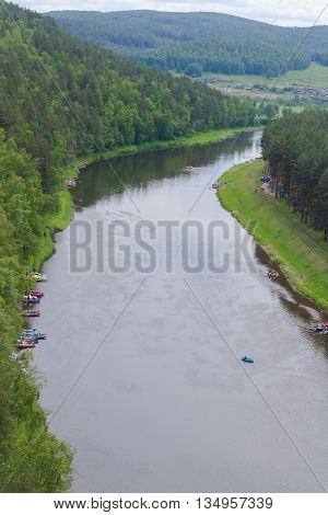 Parking Raft On The River Ai, Ural, Russia