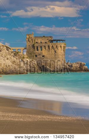 Medieval Tower On The Coast Of Maiori Town, Amalfi Coast, Campania Region, Italy