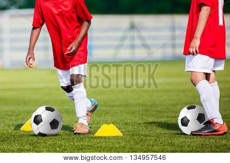 Soccer Children Training. Soccer Football Training for Young Boys. Youth Soccer Team Practice Session