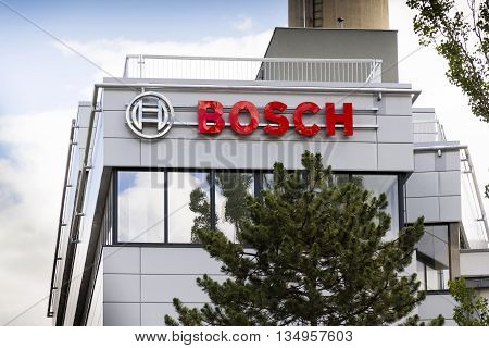 Prague, Czech Republic - June 18: Bosch Logo On The Building Of New Czech Headquarters On June 18, 2