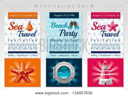 Summer travel invitation set with sailing ship design and travel icons for sea vacation and beach party. Starfish, porthole, lighthouse icons on anchor pattern background
