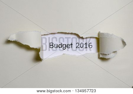 The word budget 2016 appearing behind torn paper