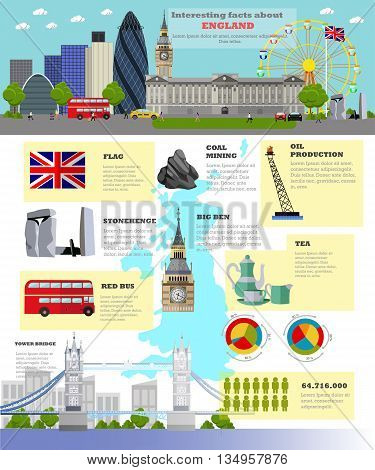 Travel to England concept vector illustration. Infographic elements, icons and interesting facts about UK. England landmarks and destinations.