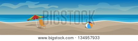 Horizontal vector banner with beach sun beds umbrellas sea silhouettes of clouds. Beach vacation. Cartoon illustration. Panorama.