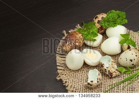 Health & Diet quail eggs on the kitchen table. Some fresh eggs of quail on the table. Quail eggs ready to eat. Advertising on trading with eggs.