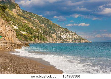 Beautiful Coast View From Positano, Amalfi Coast, Campania Region, Italy