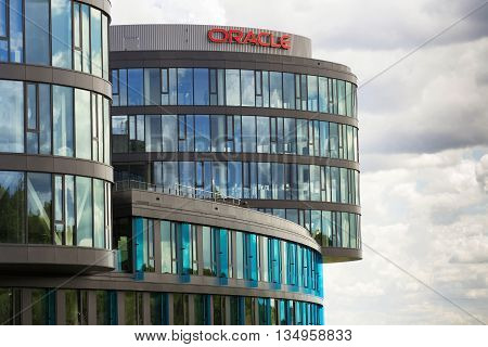 PRAGUE, CZECH REPUBLIC - JUNE 18: Oracle company logo on Czech headquarters building on June 18, 2016 in Prague, Czech republic. Second worlds largest software company posted rising gains for fiscal fourth quarter in cloud-computing business.