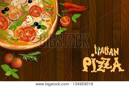 Pizza with mushroom and tomato, chilli, herbs on board on wooden background. corner design for pizza menu or pizzeria interior design. Text italian pizza. Vector illustration stock vector.
